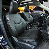 Kust zd31941w Car seat Covers,Full Hemming Without Jeep Logo Custom Fit Seat Covers Fit for Jeep Cherokee 2014 2015 2016 2017,Leather Auto Seat Covers for SUV Full Set