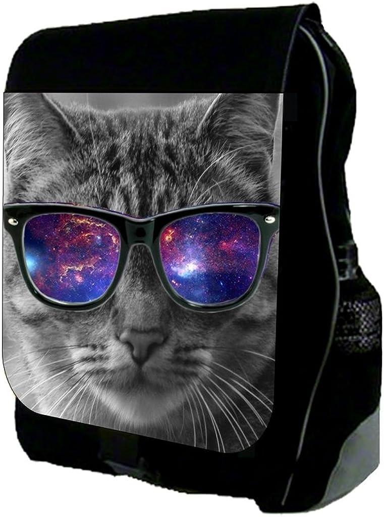Grey Cat in Galaxy Glasses TM School Backpack