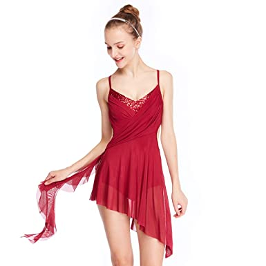 763f66091001 MiDee Camisole V-Neck High-Low Lyrical Dress Latin Dance Costume: Amazon.co.uk:  Clothing