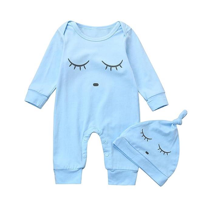 ❄ Mameluco Bebe Invierno Otoño, ❀ Bebé Recién Nacido Niños Muchachos Ojos Cara Impresión Peleles Monos Bodies Sombrero 2 Unids Conjuntos: Amazon.es: Ropa ...