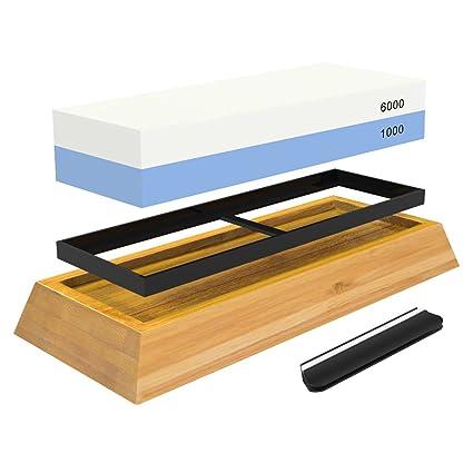 Kit de piedra afiladora de cuchillos de primera calidad con 2 piedras de afilado laterales 1000/6000 grano afilado y piedra de agua para afilar y ...