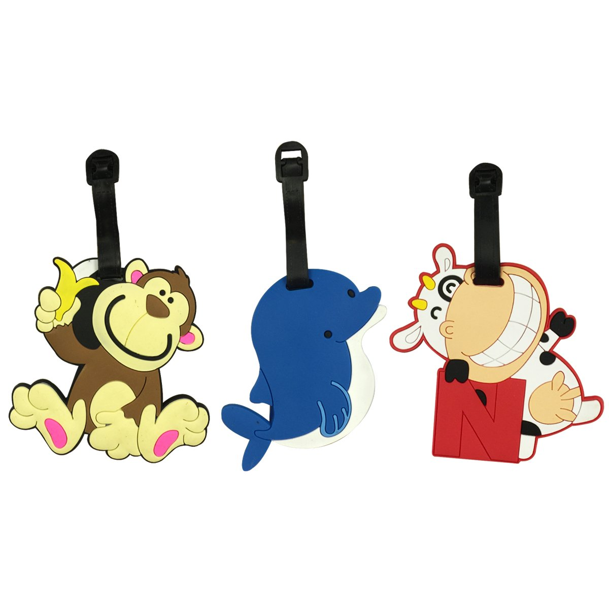 Wrapables Silicone Animal Luggage Tag with ID Card (Set of 3), Cow/Dolphin/ Monkey B01H819T4Q