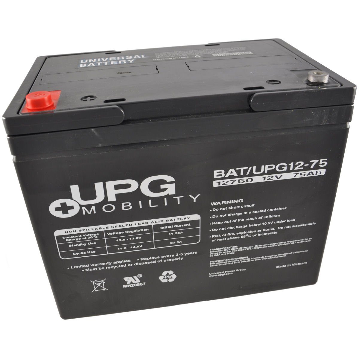 Universal Power Group Upg Ub12750 12v 75ah Sealed Lead Acid Battery The Circuit Can Be Used To Charge Batteries I4 Tt Electronics Tools Products Industrial Scientific