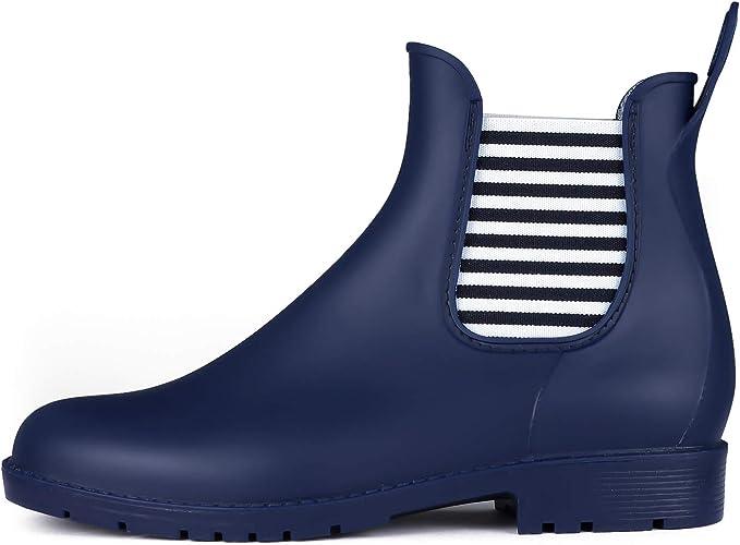 Boots Rain Pluie Caoutchouc Wellington de Bottes Jardin Imperméable KomForme Chelsea en Boots Chaussures Femme Bottines SqUzMpGV