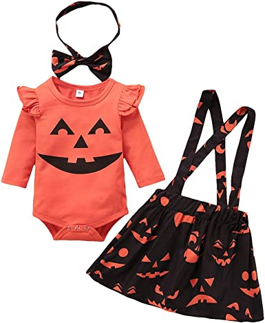 Halloween Toddle Baby Girl Clothes Ruffle Romper Top Suspender Pumpkin Skirt Outfit Set /& Headband Outfits