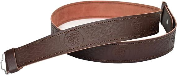 Leather Kilt Belt Adjustable size for Kilts Highland Brown Thistle Embossed