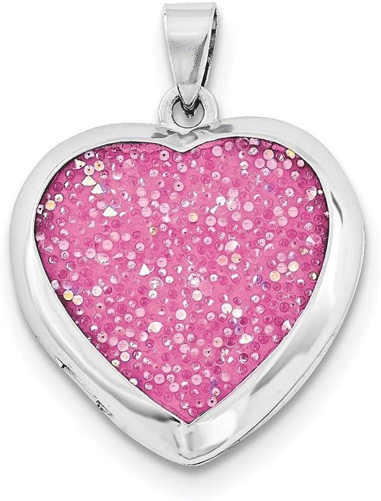 .925 Sterling Silver Crystal Pink Heart Locket Charm Pendant