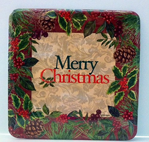 Pinecone Tableware - Square Festive Holly Merry Christmas Dinner Plates, 8ct