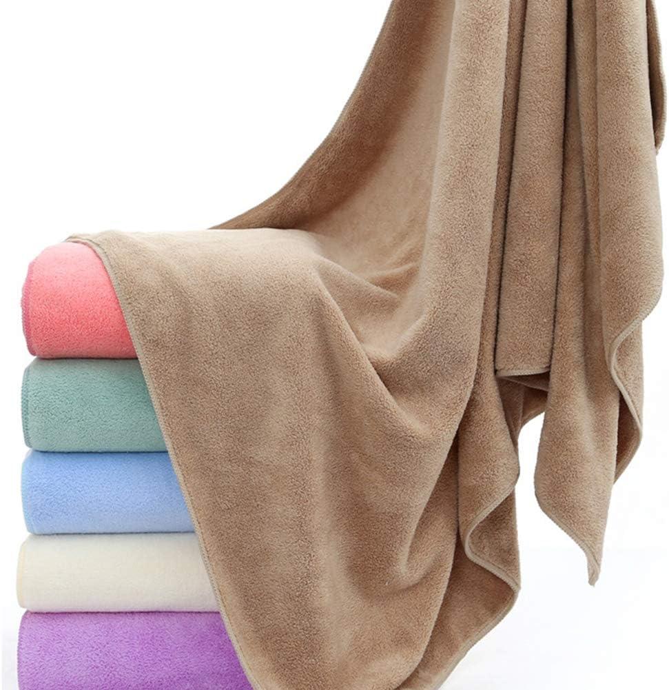 HUAhuako Bath Towel 70x140cm Solid Color Coral Fleece Absorbent Soft Blanket Bath Towel for Bathroom Beach White