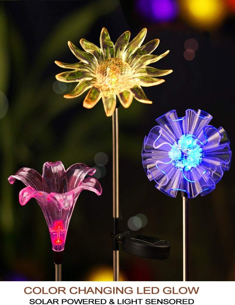 Hardoll Solar Lights for Outdoor Home Garden LED Decoration Waterproof Lamp Dandelion, Lily, Sun Flower Stake Lights(Pack of 3) product image