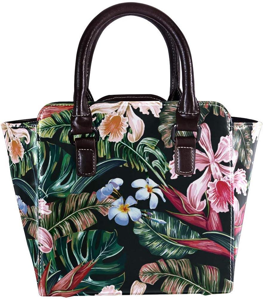 Women handbag Soft PU Leather Fashion Rivet bag Handbag with Shoulder Strap Crossbody Bag Flowers Palm Leaves