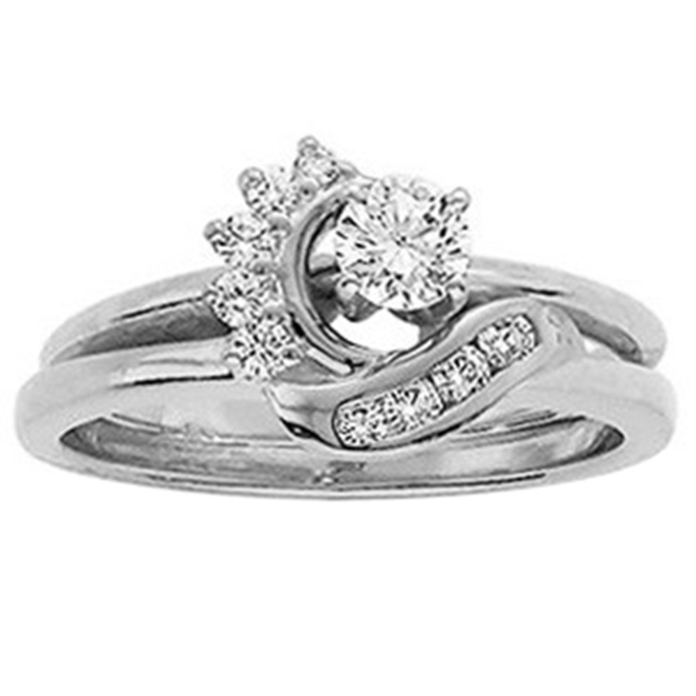 14k White Gold Plated Simulated Diamonds Station Solitaire Swirl Wrap Ring Guard Enhancer 1/6 ct 5
