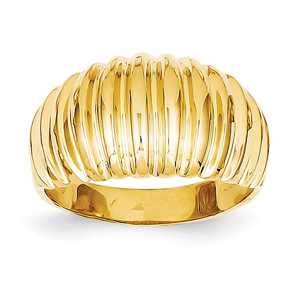 Lex /& Lu 14k Yellow Gold High Polished Ribbed Dome Ring LAL96839