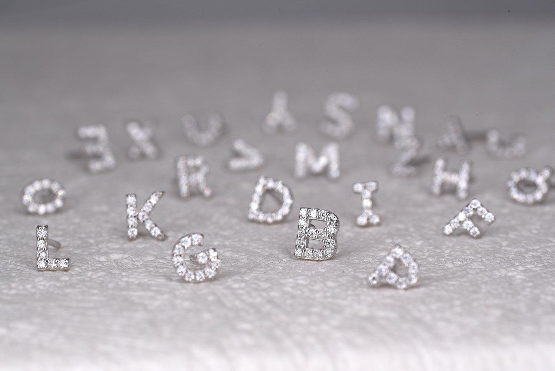 Small CZ Initial Stud Earrings Alphabet Earrings by espere (Image #5)