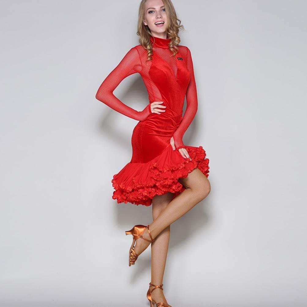 """Wangmei Wangmei Wangmei Damen Lateinisches Tanzkleid Set Perspektive V-Ausschnitt Lange Ã""""rmel Samt Ballroom Tanzkleid IrreguläRes Schwingen 2 Stück (Oben  unten) B0784CPLL7 Bekleidung Direktgeschäft 48919c"""