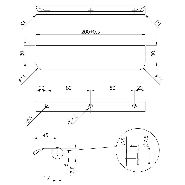 Montage Arri/ère 5 x Poign/ée de meuble BLANKETT round 200 mm Finition Titane Poign/ées Arri/ères Poign/ée Baguette SO-TECH/®