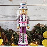 Christmas Holiday Wooden Nutcracker Figure Soldier with Pink, Teal, and White Uniform Jacket, Cupcake Hat, Silver Boots & Silver Tassels with Sparkle Rhinestone Details, Large Exclusive 12 Inch