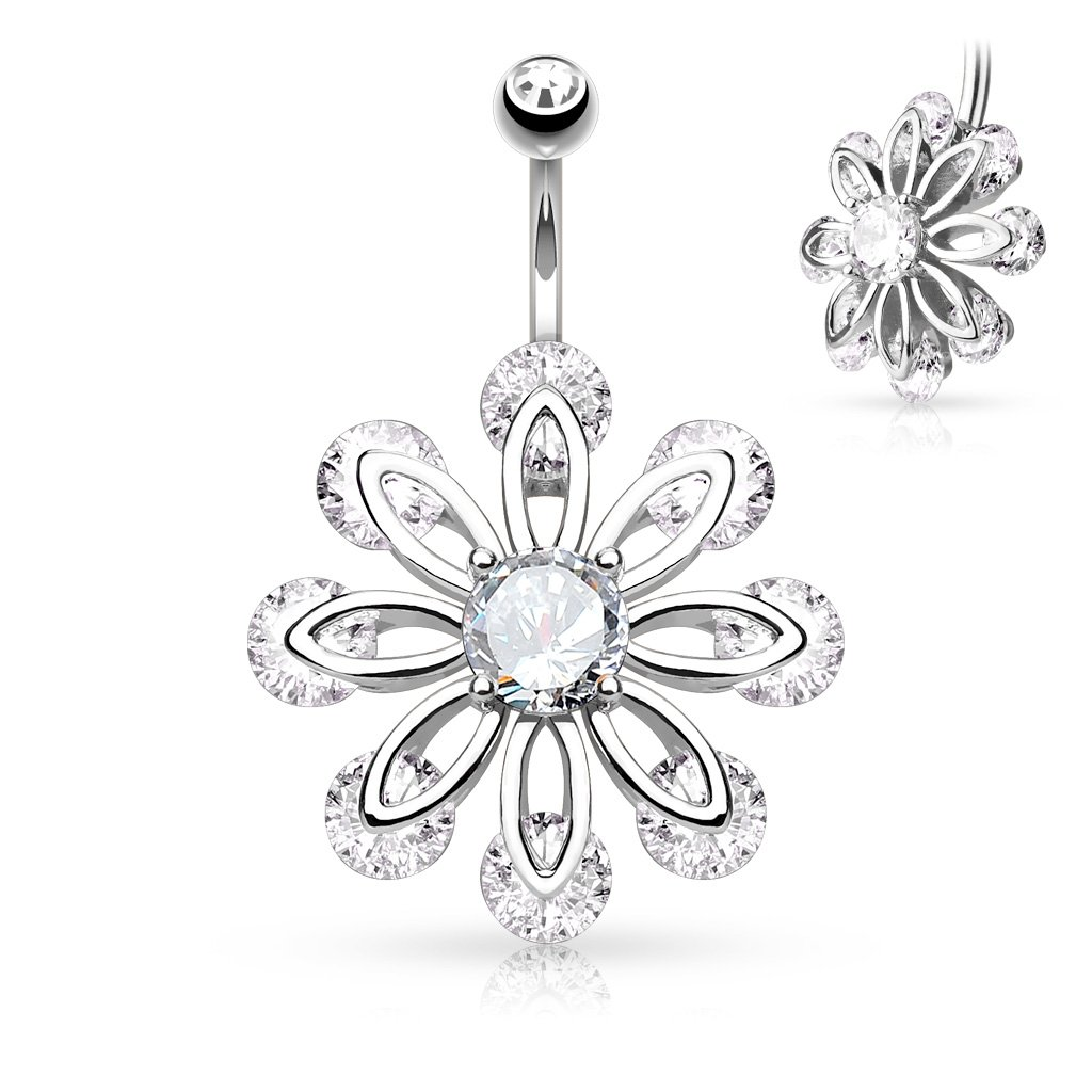 Freedom Fashion CZ Set 8 Petal Flower Round CZ Center 316L Surgical Steel Navel Rings