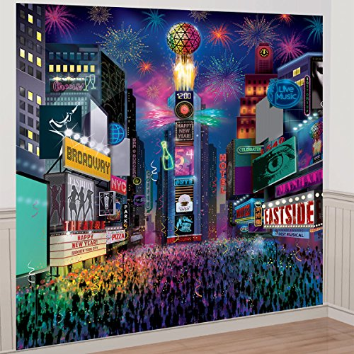 (amscan New Year Times Square Deluxe Scene Setter Decorating)