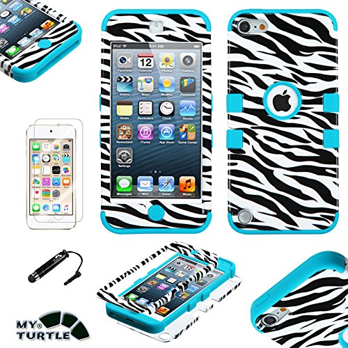 Leopard Skin Phone Protector Case - MyTurtle Shockproof Hybrid 3-Layer Hard Silicone Shell Cover with Stylus Pen and Screen Protector for iPod Touch 5th 6th Generation, Zebra Teal Green