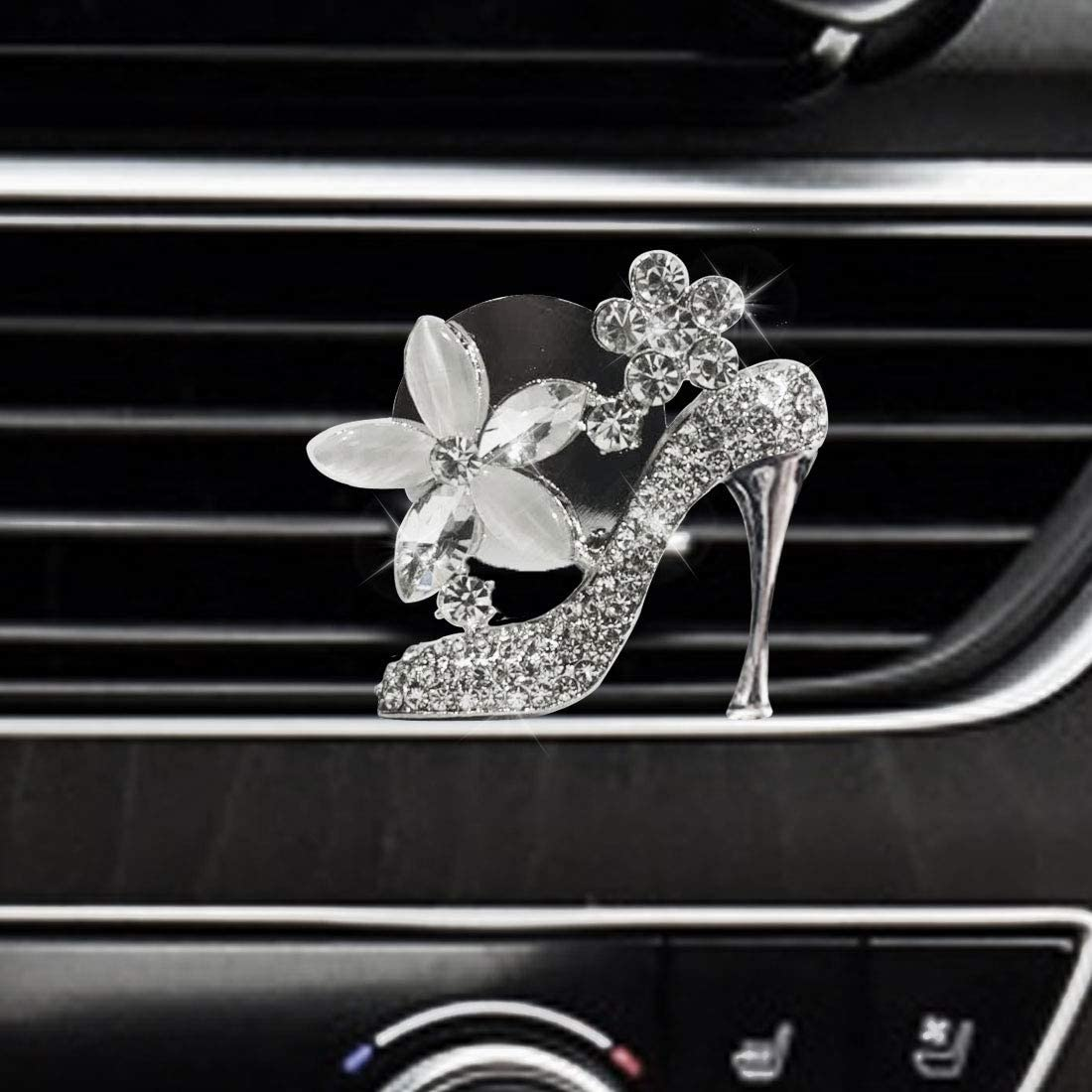 JALII High Heel Shoe Car Air Vent Clip Charm, Bling Car Accessories, Crystal Women Fashion Shoe w/Flowers, Car Interior Decoration Charm, Rhinestone Car Bling Accessories, Cute Car Decor
