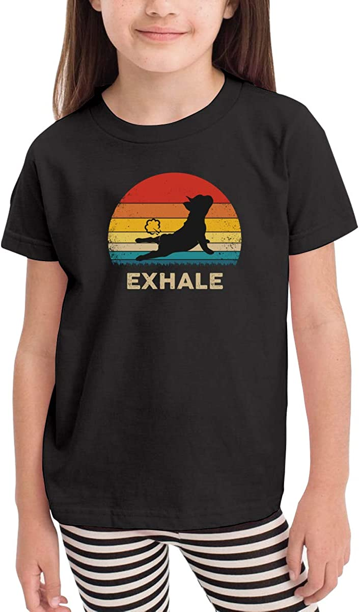Toddler Boys Girls Kids Funny Graphic Bull Dog Exhale Black T Shirt Cotton Tee Summer Tops