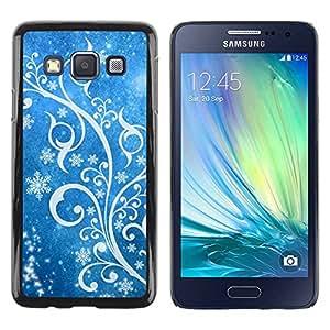 rígido protector delgado Shell Prima Delgada Casa Carcasa Funda Case Bandera Cover Armor para Samsung Galaxy A3 SM-A300 /Winter Snow White Blue Floral/ STRONG
