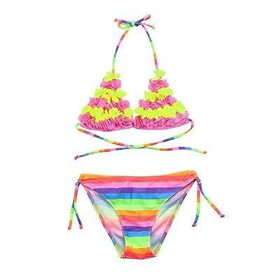 Necoip® 2Pcs Toddler Girls Flowers Striped Swimwear Bathing Bikini Rainbow Set Outfits Swimsuit 2-6T