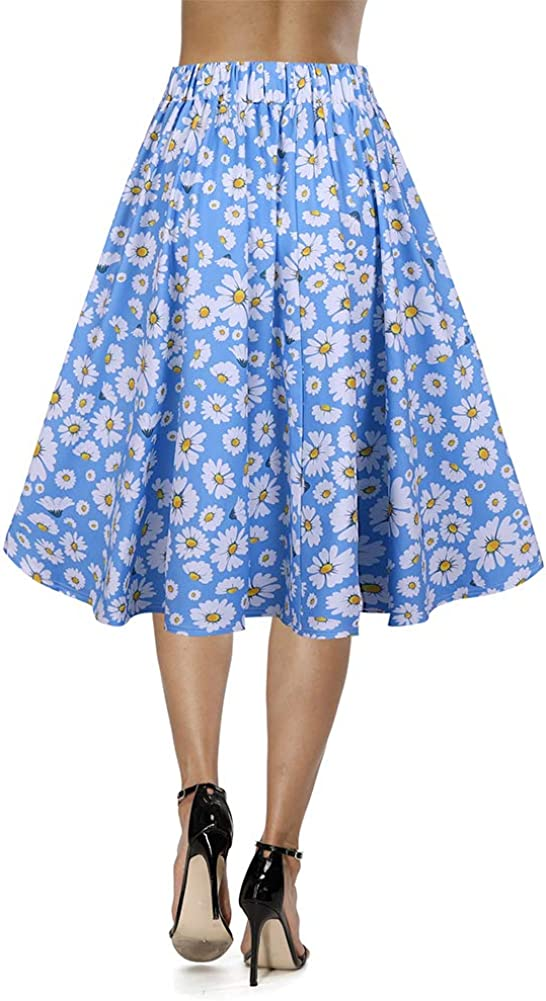 Hyrew Womens Vintage A-line Cute Daisy Print Pleated Flared Midi Skirts