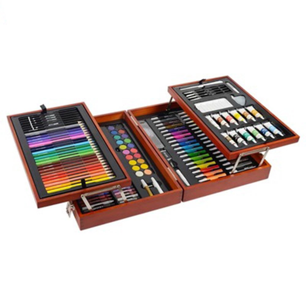 Ybriefbag Wooden Art Set Children's Brush Stationery Set Art School Supplies Double Wood Painting Tools Painting Watercolor Crayons Art Supplies for Drawing