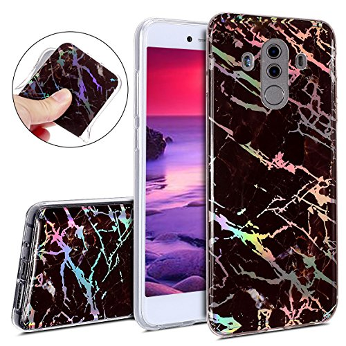 Price comparison product image IKASEFU Huawei Mate 10 pro,Bright laser IMD Marble Pattern Design Soft Slim Shockproof Flexible TPU Silicone Rubber Protector Clear Bumper Case Cover for Huawei Mate 10 pro,Brown