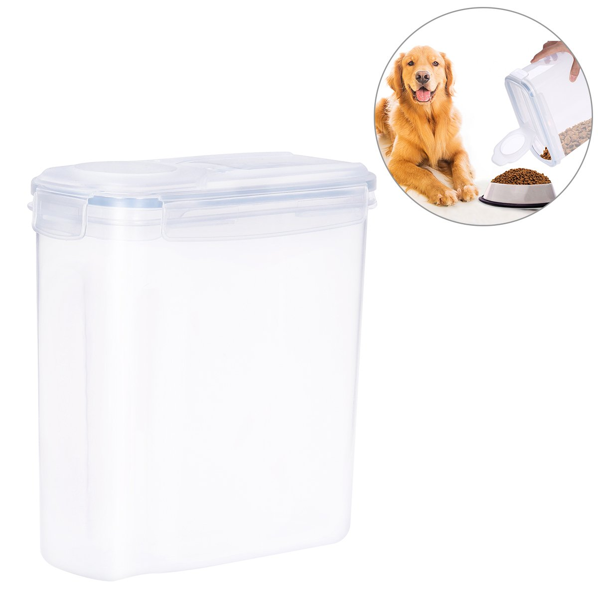 UEETEK 4L Pet Dog Food Storage Container with Graduated Scale Transparent Buckle Sealed Food Storage Box