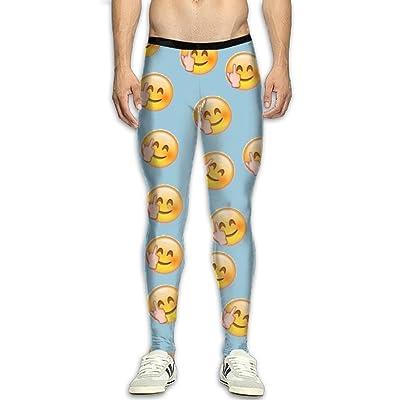 QWYHFHH Men's Middle Finger Emoji Compression Pants Sport