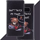 Wallet Leather Flip Case Cover for Samsung Galaxy Note 8, Anti Scratch Case with Phone Wrist & Card Holder, Embedded Durable Magnetic Kickstand case for Galaxy Note 8 (2017)-Chainsaw Bear