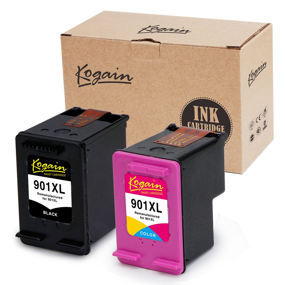 Kogain Remanufactured for HP 901 901XL Ink Cartridges, 1 Black + 1 Tri-Color, High Yield Work with HP OfficeJet 4500 G510a J4680 J4580 J4550 J4540 J4500 J4524 J4624 J4640 J4660 J4680c Printer