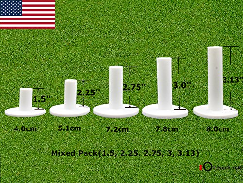 - FINGER TEN Golf Rubber Tees Driving Range Value 5 Pack, Mixed Size or 5 Same Size for Practice Mat (Mixed Pack(1.5, 2.25, 2.75, 3, 3.13))