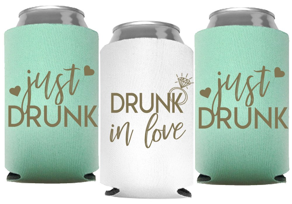 Drunk In Love and Just Drunk Bachelorette Party Can Coolers, Set of 12 White and Mint Green Beer Can Coolies, Perfect Bachelorette Party Decorations and Brides Maid Gifts (Mint Green)