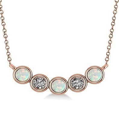 76b3e2356b2955 Women's Diamond and Opal 5-Stone Pendant Necklace 14k Rose Gold 0.25ct