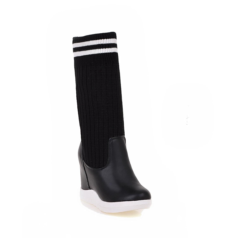 DYF Zapatos de mujer botas largas incremento interno de lana de color hechizo elástica Poe35 EU Black