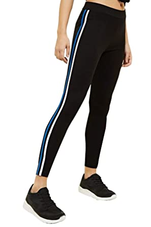 17601feff1 BLINKIN Yoga Gym Workout and Active Sports Fitness Black Stripe Polyester Leggings  Tights for Women