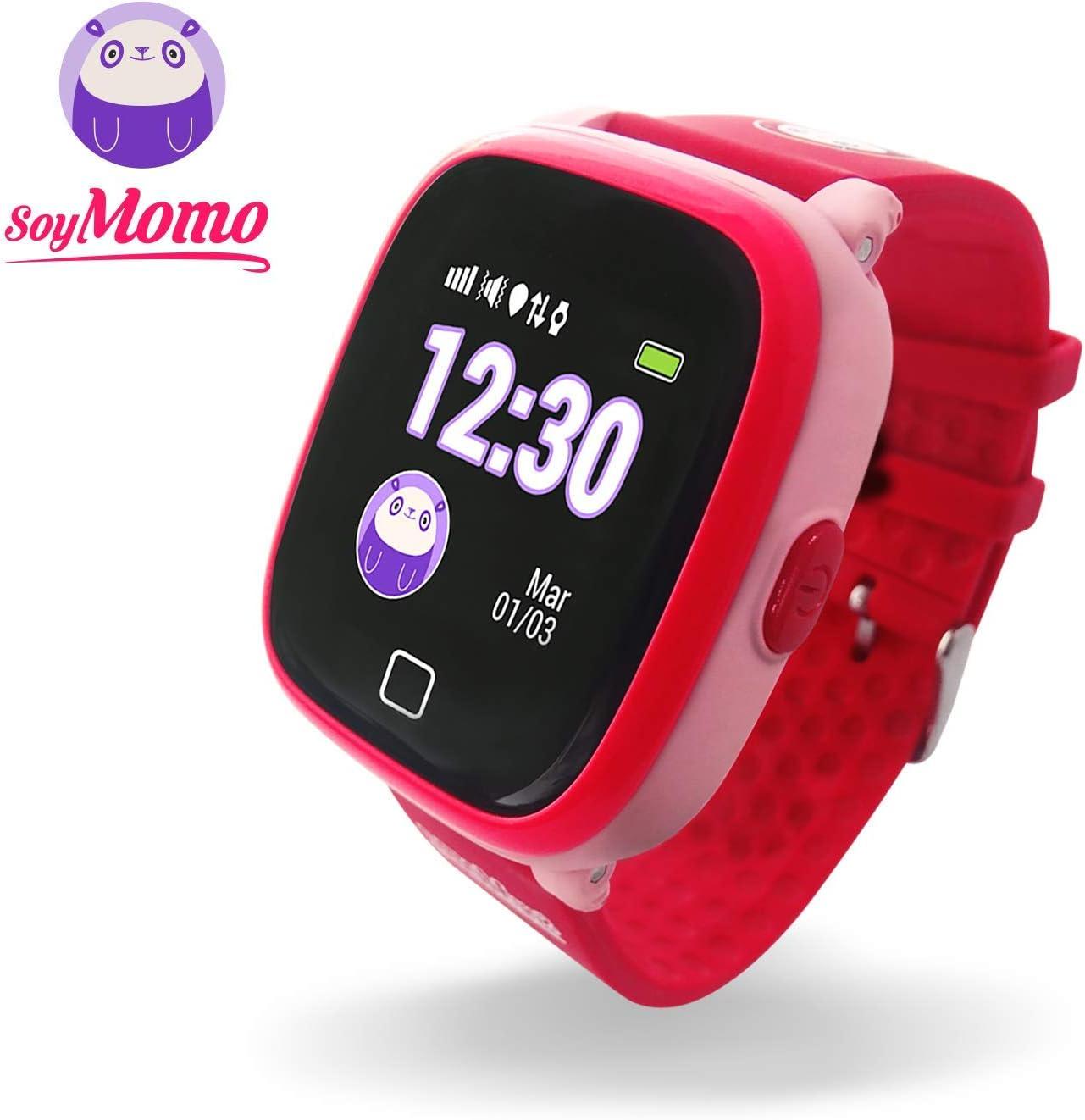 SoyMomo H2O Reloj Inteligente para Niños con GPS y Botón SOS, Móvil para niños con Ranura para SIM Que Permite Llamadas y Mensajes, Smartwatch para Niños con Rastreador GPS Resistente al Agua (Rosa)