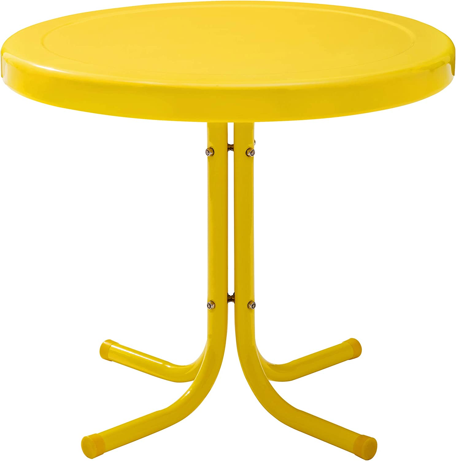 Crosley Furniture CO1011A-YE Griffith Retro Metal Outdoor Side Table, Yellow
