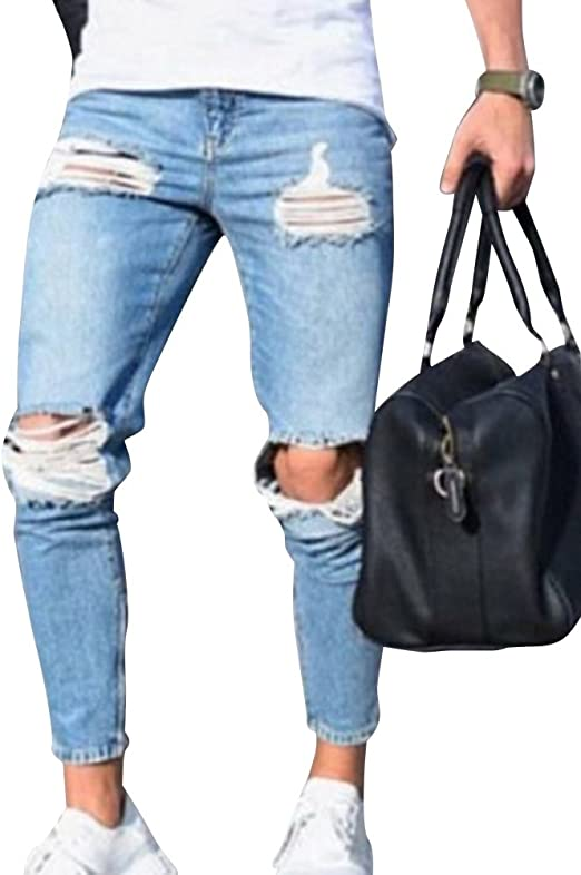 Skinny Vaqueros Hombre Slim Fit Pantalones Casual Pantalon Mezclilla Rasgado Pantalones Tallas Grandes Azul Claro 3xl Amazon Es Ropa Y Accesorios