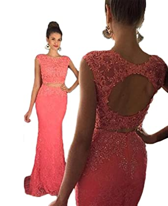 HONGFUYU Womens Halter Lace Two Piece Prom Dress Gorgeous Beading 2018 Formal Occasion Dress Red-