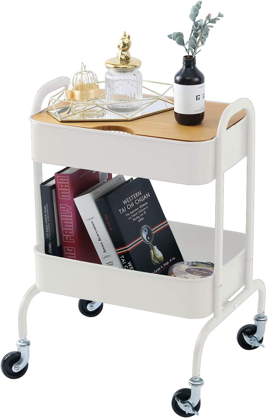 2-Tier Metal Utility Rolling Cart Storage Side End Table with Cover Board and Handle for Office Home Kitchen Organization, Cream White