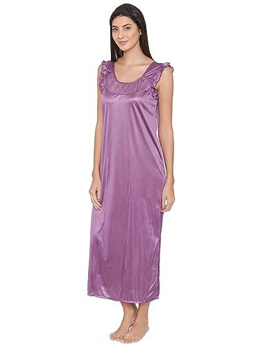 Clovia Women s 4 Pcs Satin Nightwear In Purple (NSM236G12 Purple Free  Size)  Amazon.in  Clothing   Accessories 2fcb07aa2