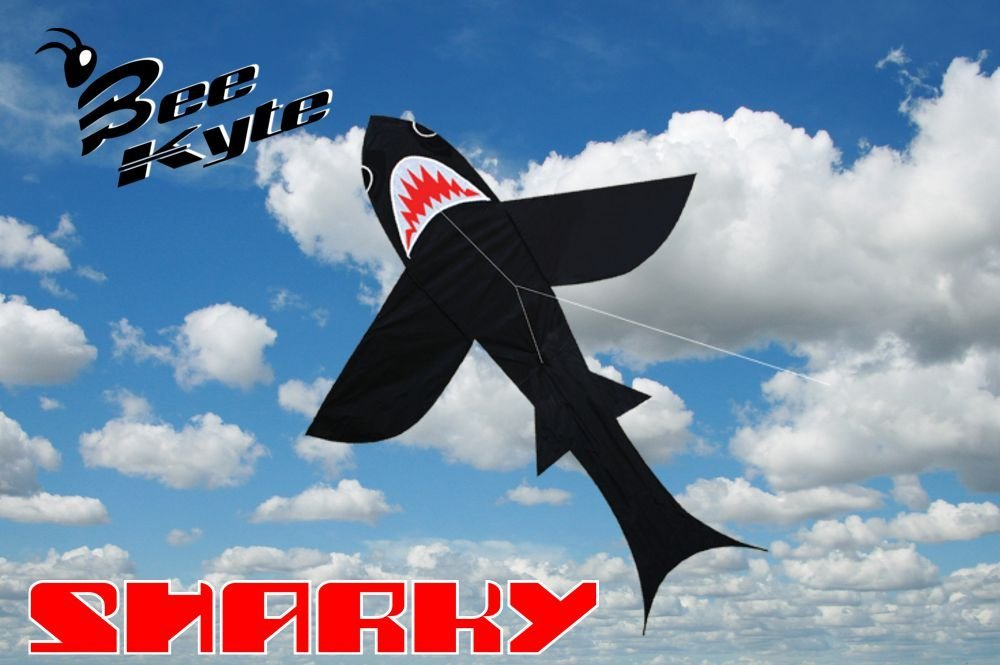 Bee-Kyte Shark - Aquilone Monofilo 140 x 170 cm. a Forma di Squalo Scenografico Pronto al Volo Completo di Maniglia e Cavo