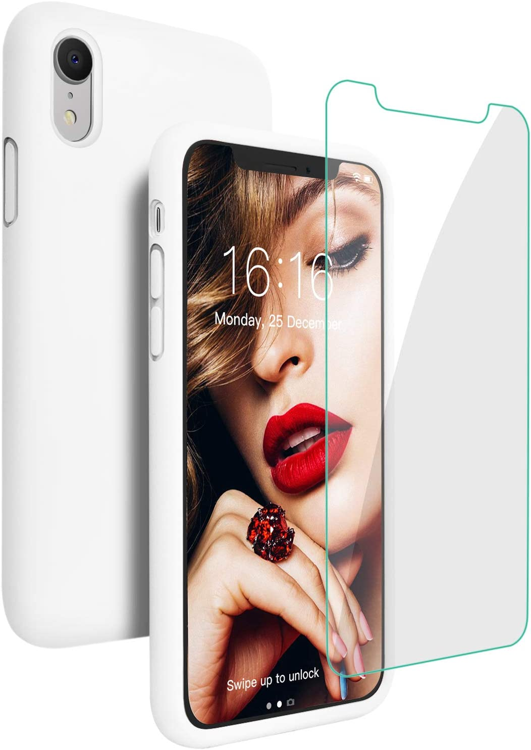 JASBON Case for iPhone XR, Soft Liquid Silicone iPhone XR Case with Tempered Glass Cover for iPhone XR-White