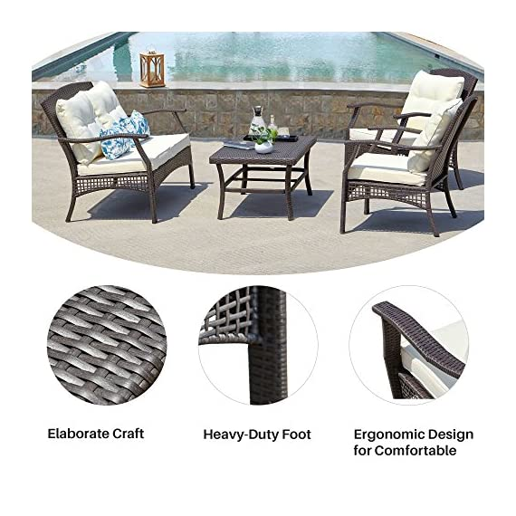 SUNTONE Outdoor Furniture 4 Piece Conversation Set- All Weather PE Rattan Wicker  Patio Furniture Set, Beige Cushions, 2 Throw Pillows (2018 New, Brown) - STURDY & DURABLE: Outdoor conversation set constructed fron reinforced rust-resistant powder coated steel frame that can support up to 300 pounds per seat, all-weather wicker and Grade 5 UV-resistant fabric for long-lasting vibrant color (Please note the dimension showed in the picture). COMFORTABLE & MODERN: 3.5-inch thick sponge padded seat cushions, 2 extra throw pillows provide gentle yet effective support to your back for more comfort, comfortable size and modern design perfect for conversation and drinks. EASY TO CLEAN: All cushions come with zippered polyester covers, washable and quick-drying (except back cushions). - patio-furniture, patio, conversation-sets - 61nUBkhzH1L. SS570  -