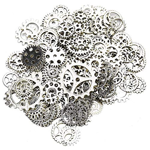 TRIXES Silver Watch Pieces Steampunk Togs and Wheels Charms Approx 100PC for Scrapbooking and Crafts from TRIXES